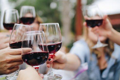 Clinking Glasses, Wine, Drinks, Friends