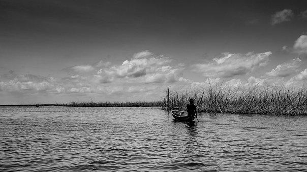 Fisherman, Lake, Leisure, Fishing, Boat, Nature, Man