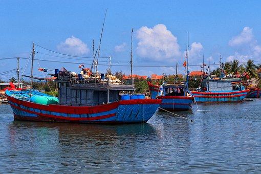 Fishing Boats, Vietnam, Red River, Fishing, Sailboats