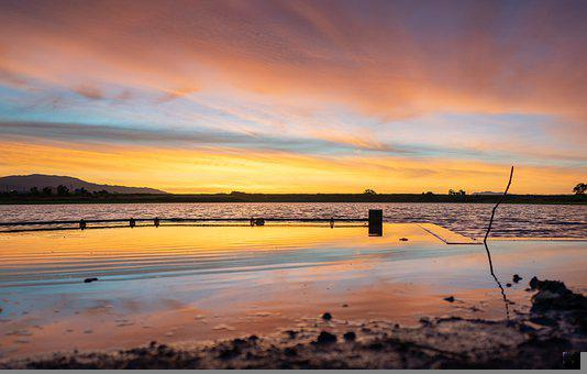 Sunrise, Lake, Nature, Scenery, Bay, Sea, Water