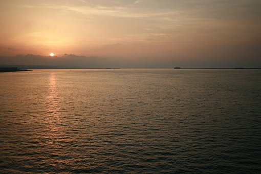 Sunset, Ocean, Horizon, Seaview