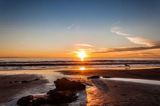 Beach, Sunset, Sea, Santa Barbara, Usa
