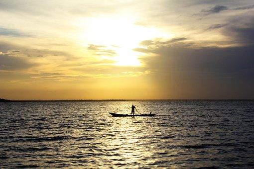 Fisherman, Sunset, Ocean, Fishing, Boat, Landscape