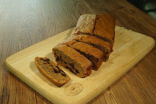 Raisin Bread, Sliced, Loaf, Crust, Bread, Dough, Baked