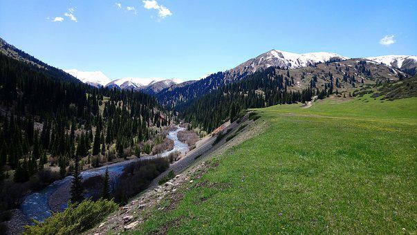River, Mountains, Nature, Scenery, Trees, Landscape