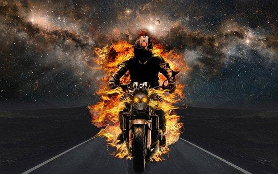 Biker, Motorcycle, Fantasy, Flames, Fire, Skull, Road