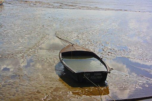 Boat, Mud, Sand, Beach, Coast, Dock, Elbe, Wadden Sea