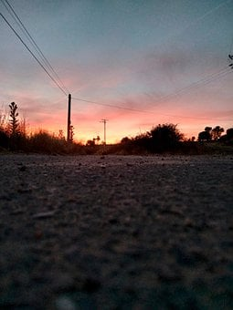 Road, Path, Sunset, Clouds, Sky, Horizon, Field