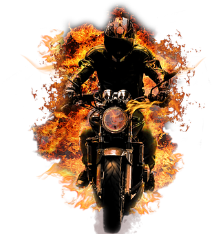 Biker, Motorcycle, Fire, Flames, Cut Out, Death, Gothic