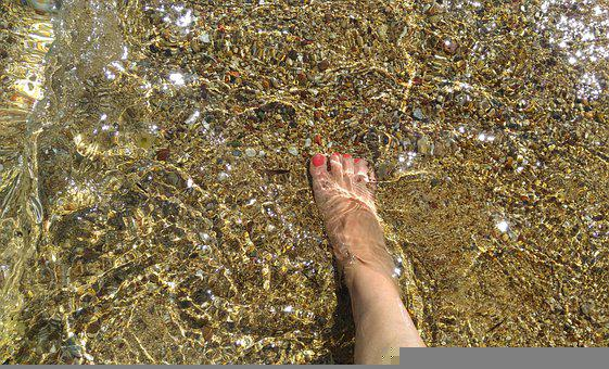 Beach, Barefoot, Sea, Water, River, Sunny, Happiness