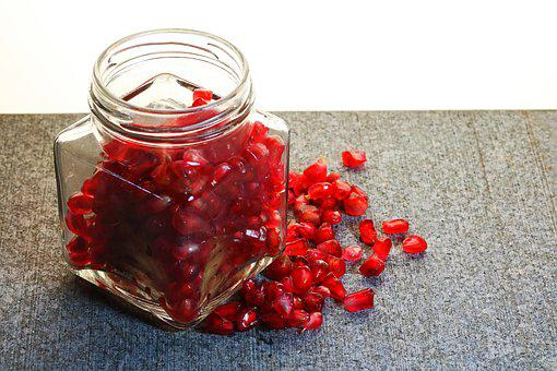 Pomegranate Seeds, Juicy, Healthy, Glass Jar, Container