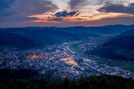 Buildings, Town, Road, Hills, Sunset, Evening