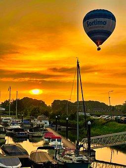 Hot Air Balloon, Sunset, Travel, Dock, Dusk