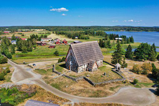 St Olaf Church, Church, Sastamala, Village, Lake