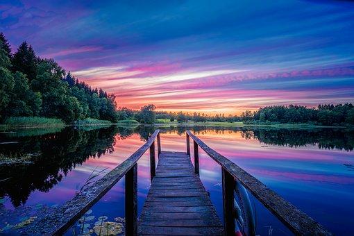 Lake, Dock, Sunset, Verkasjön, Sweden, Nature, Scenery
