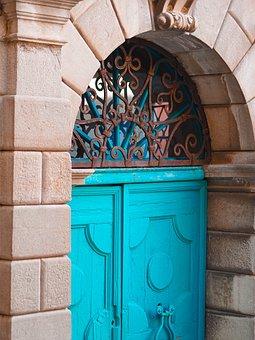 Blue Door, House, Mediterranean, Door, Architecture