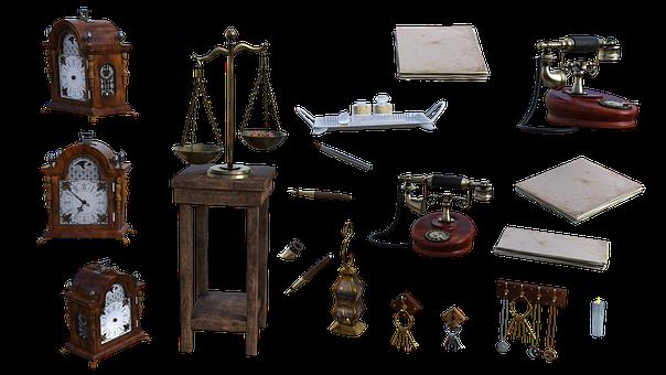 Clocks, Accessories, Keys, Scales, Cutout, Telephone