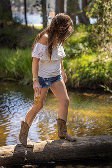 Girl, Cowboy Boots, Log, Lake, Leisure, Boots, Beer
