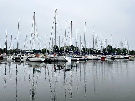 Port, Boats, Reflection, Sea, Bay, Water, Sailboats
