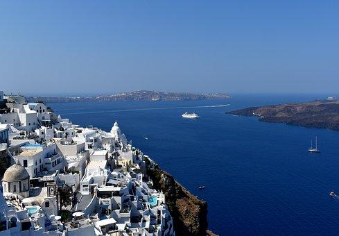 Santorini, Greece, Island, Village, Aegean, Sea