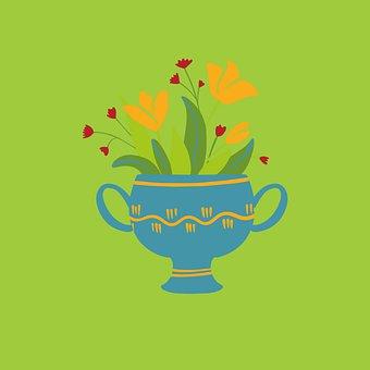 Flowers, Pot, Vase, Plant, Bloom, Decoration, Creative