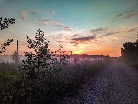 Road, Outdoors, Dusk, Sun, Dawn, Fog, Morning