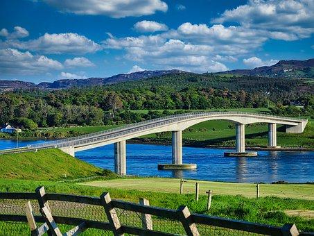 Bridge, River, Ireland, Rural, Road, Mountains, Nature