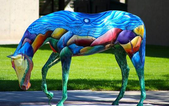 Horse, Colorful, Statue, Art, Sidewalk, Architecture