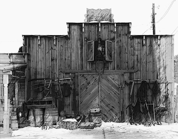 Western Style, Building, Wooden, Black And White