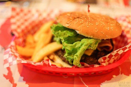 Hamburger, American Bread, Chips, Eat, Fast Food, Food