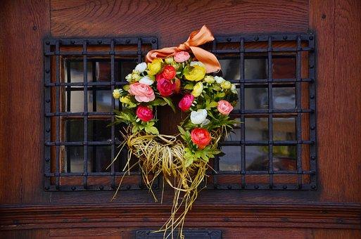 Door Wreath, Floral Wreath, Flowers, Door, Old, Wood