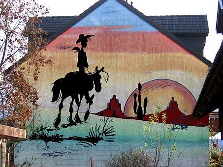 House, Painting, Wall, Mural, Lucky Luke, Comic, Figure