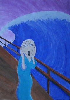 Munch Scream, Alienation, Watercolor, Felt Tip Pens