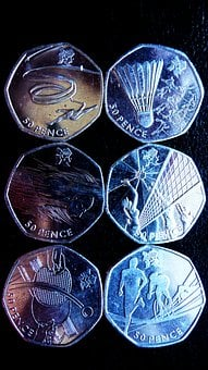 Money, Sports, Coins, Olympics, Fifty, Pence, British