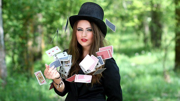 Girl, Topper, Playing Cards, Luck, Magic