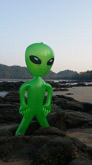 Alien, Alie, Mars Male, Fig, Inflatable, Sea, Stones