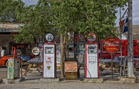 Vintage Gas Station, Gas Pumps, Gas, Arizona, Hdr