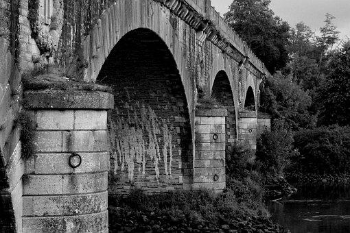 Arch, Bridge, Underneath, French, Black, White, River