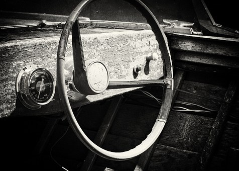 Old Boat, Wooden, Steering Wheel, Cruisers, Speedboat