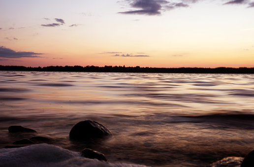 Lake, Nature, Sunset, Dusk, Twilight, Evening