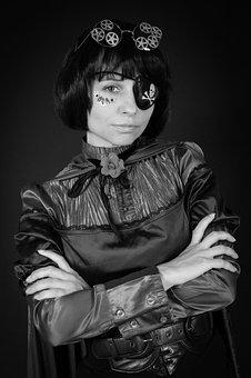Steampunk, Woman, Portrait, Fashion, Model, Girl
