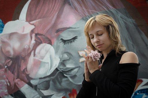 Street Art, Girl, Rose, Graffiti, Fresco, Portrait