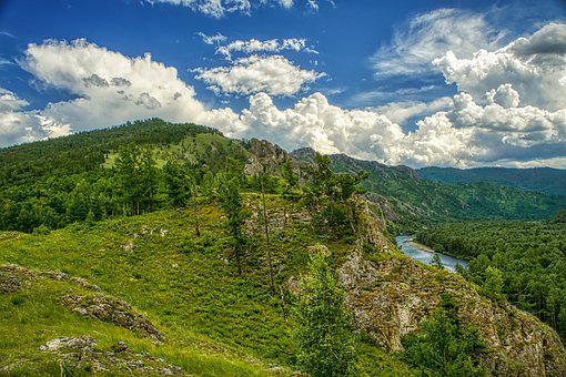 Mountains, River, Grass, Trees, Forest, Stones, Summer