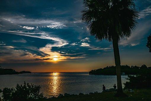 Island, Sea, Twilight, Ocean, Sky, Gulf, Bay, Sunset