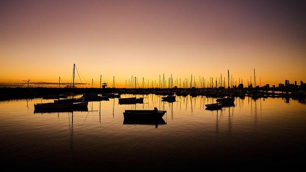 Boats, Sea, Port, Dock, Sunset, St Kilda
