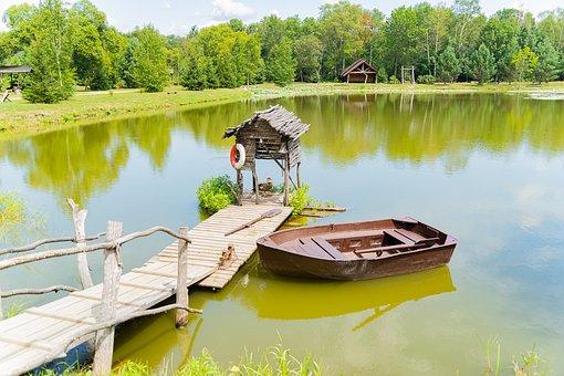 Lake, Boat, Pier, Dock, Rowboat, причал, природа, рында