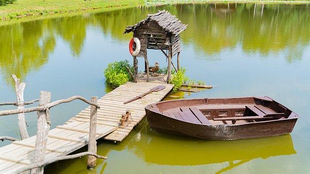 Lake, Boat, Pier, Dock, Rowboat, рында