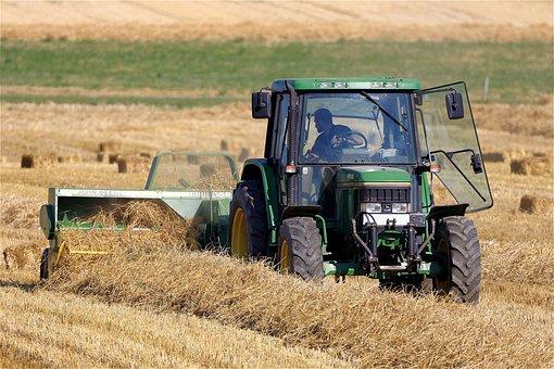 Baler, Harvest, Field, Tractor, Straw, Hay