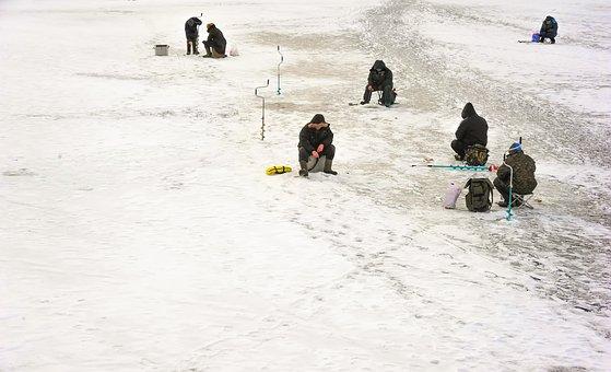 Ice Fishing, Winter, Cold, Nature, Frozen Lake