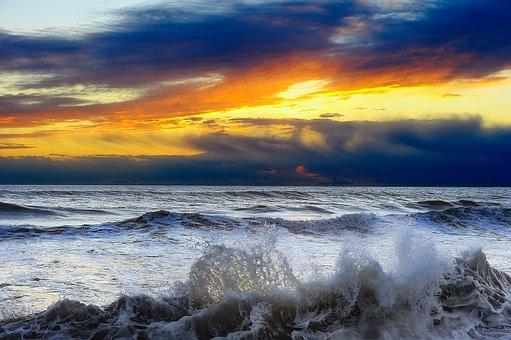 Sunset, Sea, Waves, Ocean, Splash, Nature, Landscape